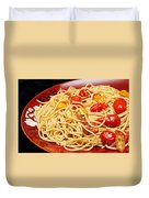Garlic Pasta And Grape Tomatoes Duvet Cover by Andee Design