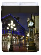 Gastown Steam Clock On A Rainy Night Duvet Cover