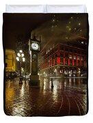 Gastown Steam Clock On A Rainy Night Vertical Duvet Cover