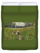 Gathering Wild Flowers  Duvet Cover