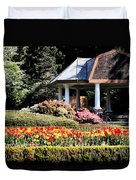 Gazebo And Tulips At Shore Acres Duvet Cover
