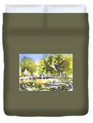 Gazebo With Pond And Fountain II Duvet Cover