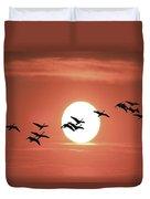 Geese Against The Sun Duvet Cover