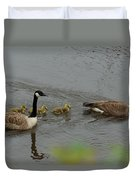 Geese And Goslings At The Flint River Duvet Cover