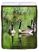Geese And Green Duvet Cover