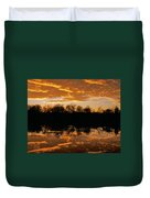 Geese Fly In The Sunset Duvet Cover