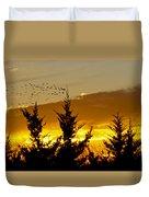 Geese In Golden Sunset Duvet Cover
