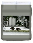 Geese In Snow Duvet Cover
