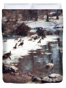 Geese On An Icy Pond Duvet Cover