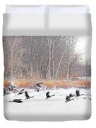 Geese Over Maumee River Duvet Cover
