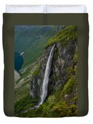 Geirangerfjord Waterfall Duvet Cover