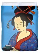 Geisha With Cup Duvet Cover