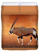 Gemsbok On Desert Plains At Sunset Duvet Cover