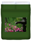 Gentle Rain - Old Water Pump - Pink Petunias - Casper Wyoming Duvet Cover