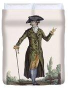 Gentleman In Green Coat, Plate Duvet Cover