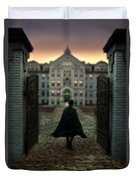 Gentleman In Top Hat And Cape Walking Through Gates Duvet Cover