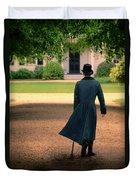 Gentleman Walking Towards A House Duvet Cover