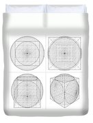 Geometric Intersection Of Cube And Sphere  Duvet Cover