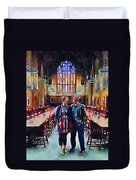 George And Chrissy At Hogwarts Duvet Cover
