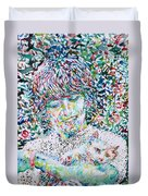 George Harrison With Cat Duvet Cover