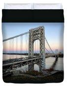 George Washington Bridge Sunset Duvet Cover by Susan Candelario