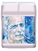 Georges Brassens - Watercolor Portrait Duvet Cover