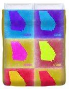 Georgia Pop Art Map 2 Duvet Cover