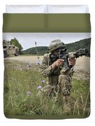 Georgian Army Sergeant Aims An M4 Duvet Cover