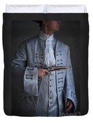 Georgian Gentleman Holding A Flintlock Pistol Duvet Cover