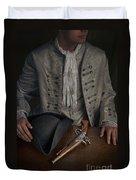 Georgian Man With Tricorne Hat And Flintlock Pistol Duvet Cover