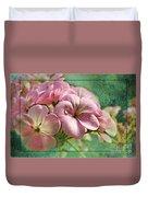 Geranium Blossoms Photoart Duvet Cover