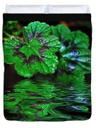 Geranium Leaves - Reflections On Pond Duvet Cover