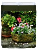 Geraniums And Lavender Flowers On Stone Steps Duvet Cover