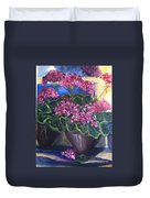Geraniums Blooming Duvet Cover by Sherry Harradence