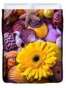 Gerbera With Seashells Duvet Cover