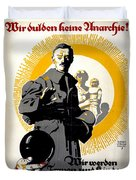 German Political Poster Shows A Soldier Standing In Front Of A Woman And Her Children Duvet Cover by Anonymous