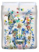 German Shepherd - Watercolor Portrait Duvet Cover