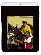Getting Ready - Jockey And Horse For The Race Duvet Cover