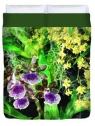 Geyser Jaimie And Golden Fantasy Orchids Duvet Cover