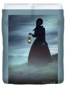 Ghostly Victorian Woman With A Lamp In Fog At Night Duvet Cover