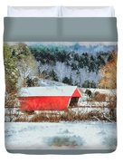 Gifford Covered Bridge In Winter Duvet Cover