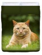 Ginger Cat In Garden Duvet Cover