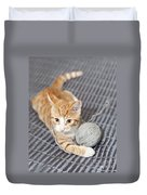 Ginger Cat With Yarn Ball Duvet Cover