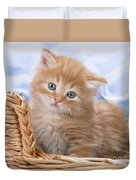 Ginger Kitten In Basket Duvet Cover