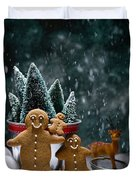 Gingerbread Family In Snow Duvet Cover