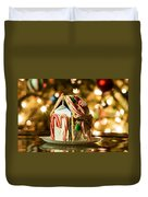 Gingerbread House Against A Background Of Christmas Tree Lights Duvet Cover