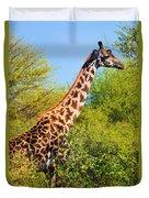 Giraffe Among Trees. Safari In Serengeti. Tanzania Duvet Cover