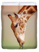 Giraffe Eating Close-up Duvet Cover