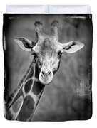 Giraffe Face In Black And White Duvet Cover