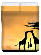 Giraffe Family Love Two Kids Duvet Cover